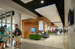 "Southeastern Louisiana University's War Memorial  Student Union offers a ""Main Street"" ambience where visitors can dine, study, watch television,  attend meetings, or just relax."