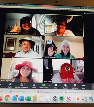 It's Hat Day for a gathering of the University of Texas–Austin Student Programs Team.