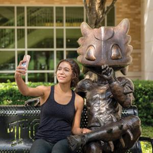 The Horned Frog bench at Texas Christian University