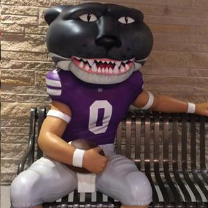 Willie the Wildcat bench inside K-State Union